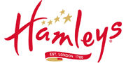 Hamleys indoor and outdoor games and toys, arts and crafts, soft toys.